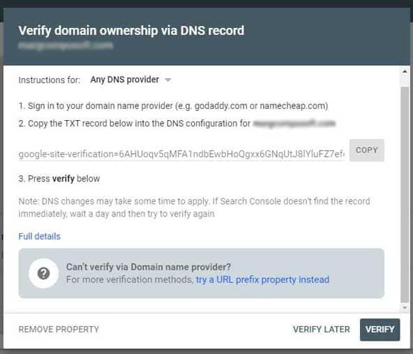DNS verfication