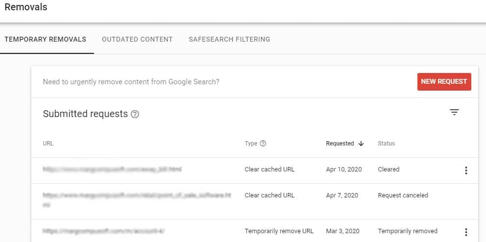 removal tool in search console