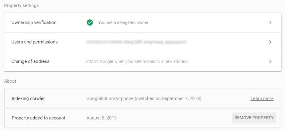 setting overview in search console