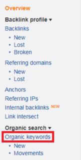 ahref organic keywords