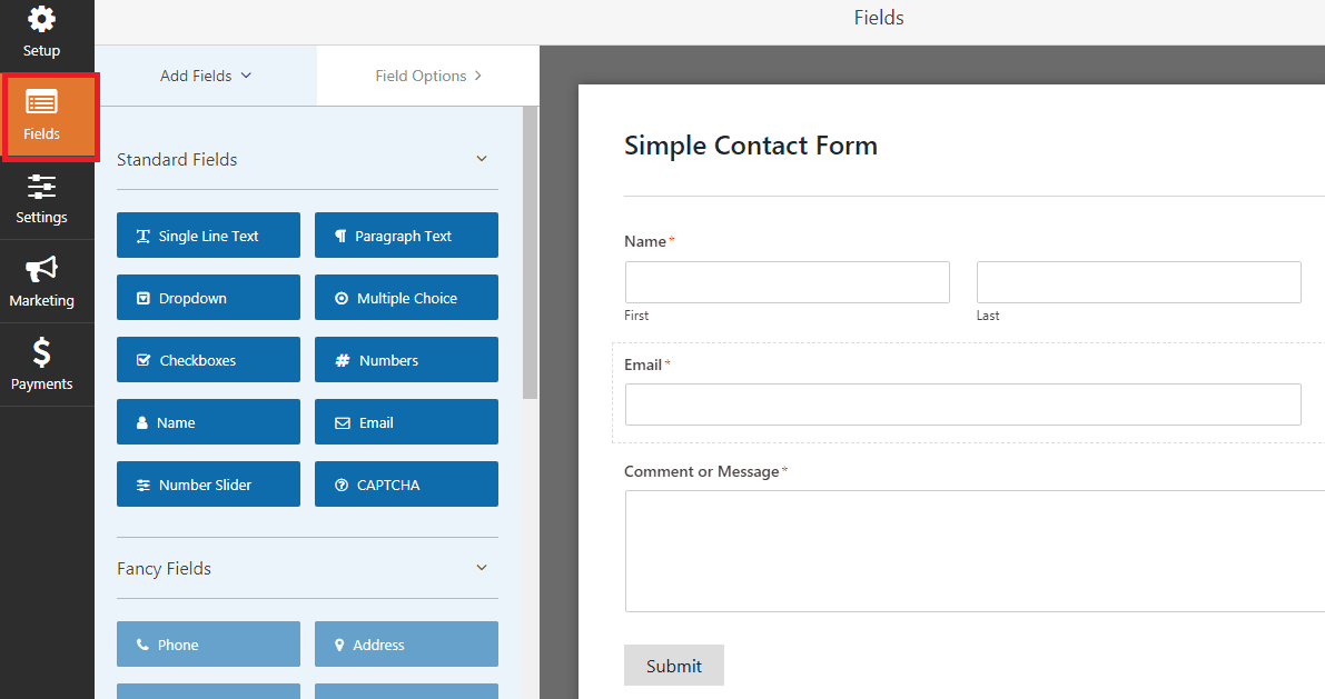simple contact form in wpforms