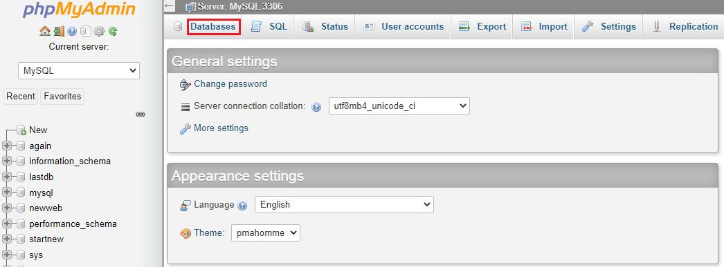 checking databases in phpMyAdmin