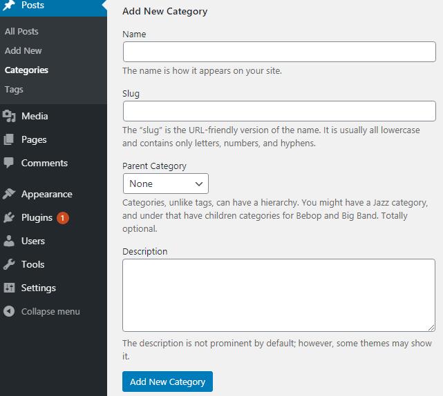 adding new categories in wordpress