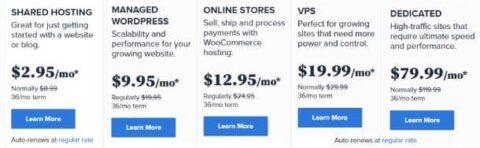 bluehost hosting plans